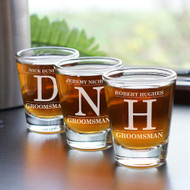 Personalized Groomsman Shot Glass with Large Initial
