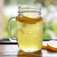 Personalized Mason Drinking Jars for the Maids and Groomsmen