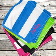 Personalized Striped Cabana Beach Towel
