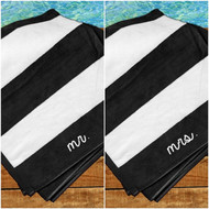 mr. and mrs. Striped Beach Towel Set in Black/White