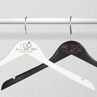 "Engraved ""I Do"" or ""Me Too"" Wooden Bridal Party Hanger"