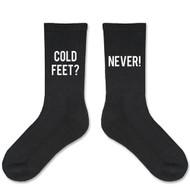 """""""Cold Feet? Never!"""" Black Socks for the Groom"""