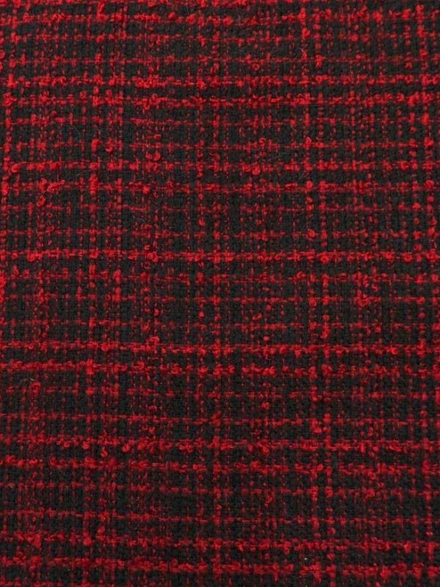 Red and Black Plaid Boucle Suiting - 54""