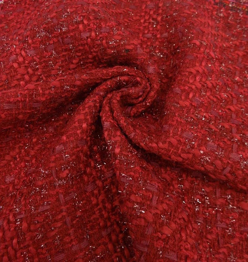 """Red Boucle Suiting - 54"""""""