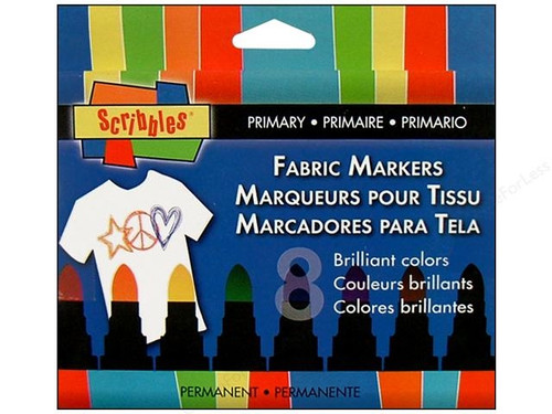 Scribbles Fabric Marker Set - Primary 8 pc
