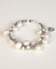 White Pearl Bracelet on Gray Wax Cotton