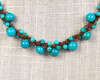 Turquoise Pearl Necklace on Dark Wax Cotton
