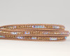 Leather & Crystal Wrap Bracelet - Brown