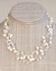 White Orb Necklace on Silk Thread