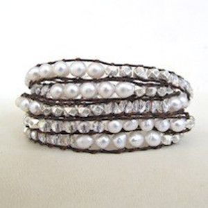 White and Silver Beaded Wrap Bracelet