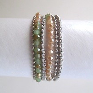 Peach Beaded  Wrap Bracelet-Silver