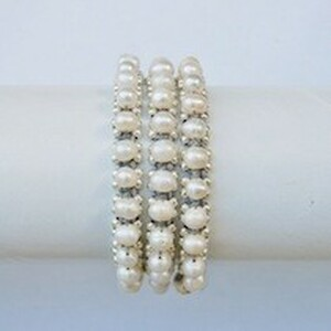 White Pearl Grey Waxed Cotton Wrap Bracelet