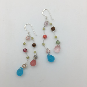 Faceted Glass Multi Colored Dangle Earrings in Silver