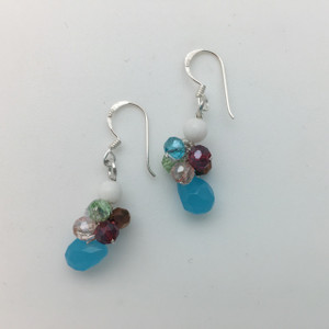 Multi Colored Faceted Glass Cluster Earrings in Silver