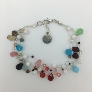 Multi Colored Faceted Glass on Silk Thread Bracelet in Silver