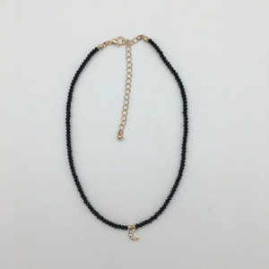 Crystal Bead Moon Pendant Choker in Black