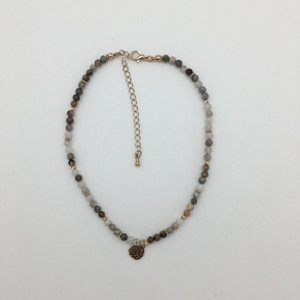 Stone Beaded Choker with Gold Accents and Circular Pendant