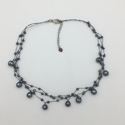 Black Pearl 'Web' Necklace