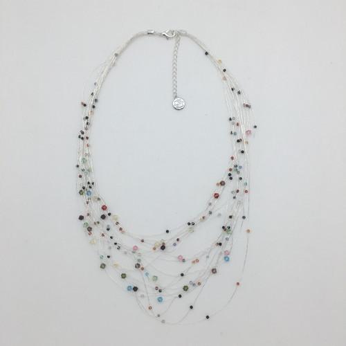 Silver Silk Cascade Thread Necklace w/ Multi Color Crystals