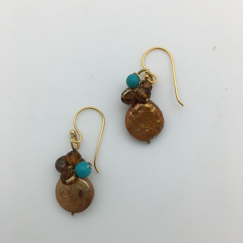 Coin Pearl Earrings in Turquoise and Brown