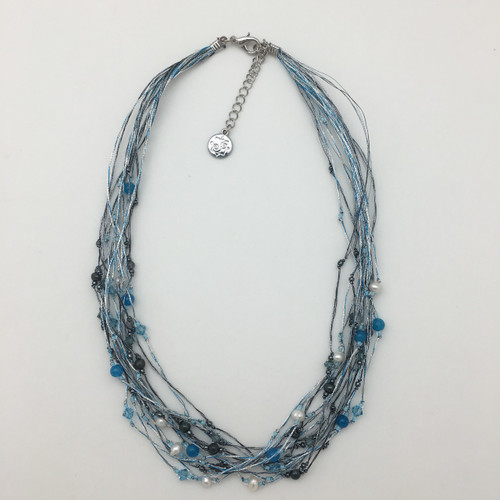 Silk Thread Turquoise and Charcoal Necklace