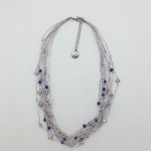 Silk Thread Lavender Necklace