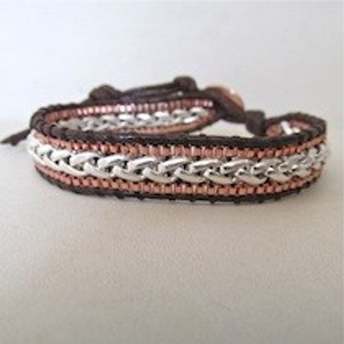 Copper Silver Leather Bracelet
