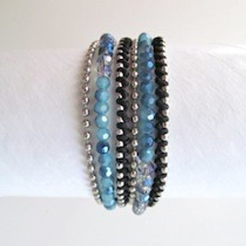 Blue Beaded Wrap Bracelet-Silver