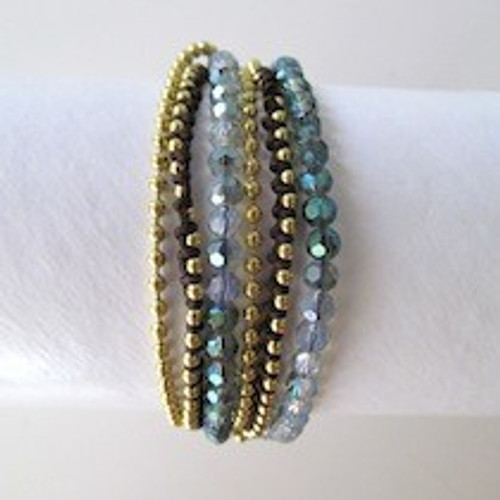 Blue Beaded Wrap Bracelet-Gold