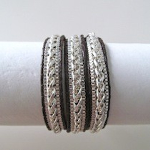 Brown Leather Wrap Bracelet-Silver