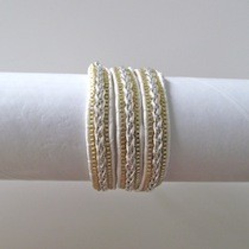 White Leather Wrap Bracelet-Gold & Silver