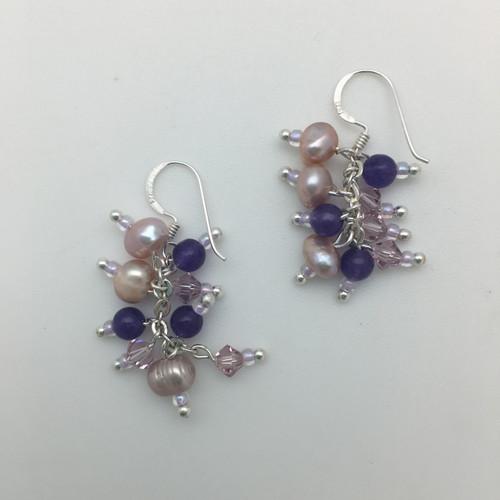 Lavender Pearl and Crystal Earrings
