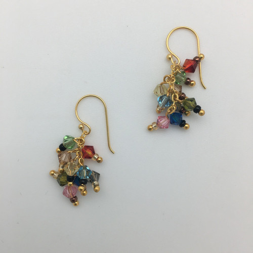 Multi Colored Crystal Earrings in Gold