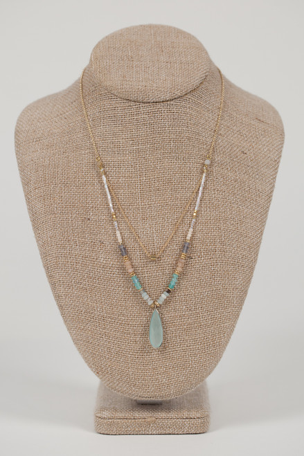 Turquoise Stone Drop Necklace
