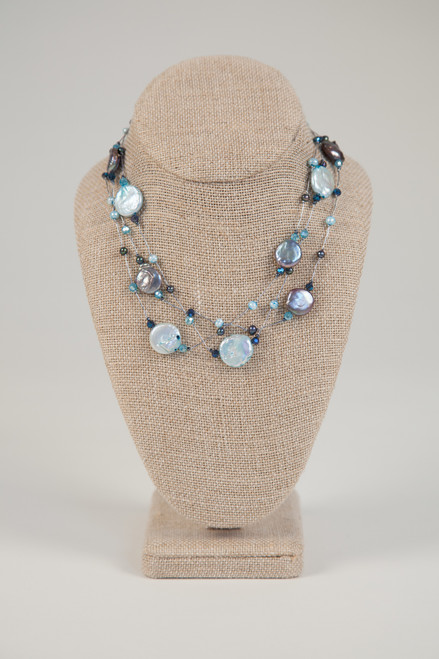 Coin Pearl Necklace - Blue