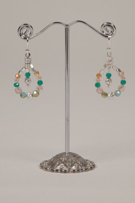 Stone & Crystal Earrings - Turqoise and Peach