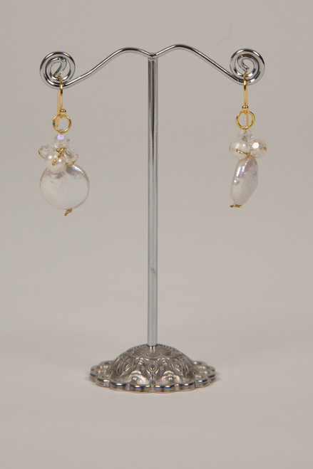Coin Pearl Earrings - Gold White