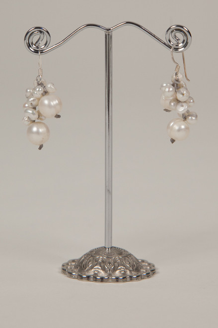 Freshwater Pearl Earrings - Gray & White