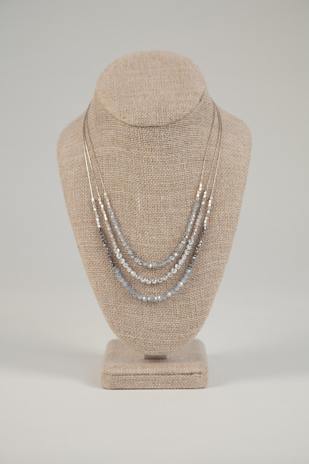 Stone & Crystal Necklace - Charcoal & Silver