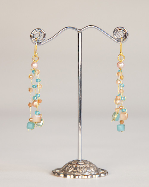 Silk Thread Earrings - Blue & Peach
