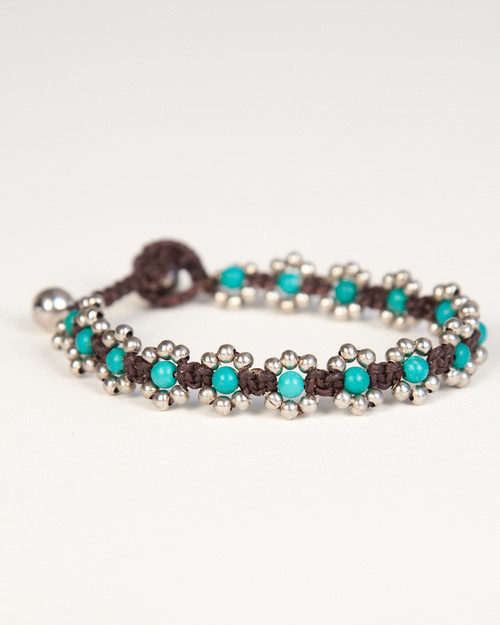 Pearl Daisy Chain Bracelet - Turquoise & Silver