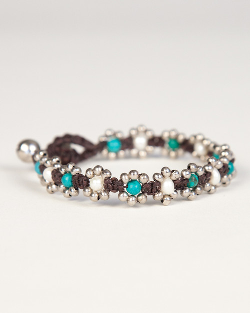 Pearl Daisy Chain Bracelet - Turquoise & White