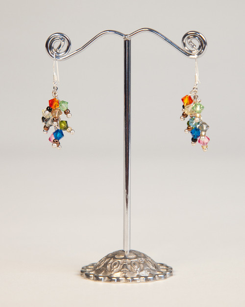 Bird's Nest Earrings - Silver Multi-Colored
