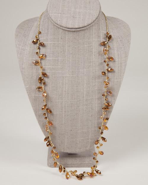 Long Tear Drop Necklace - Gold
