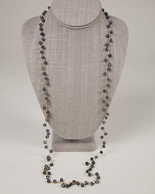 Pebble Stone Pearl Long Necklace - Black & Gold