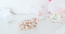 Triple Floral Headband - Cream Floral Print