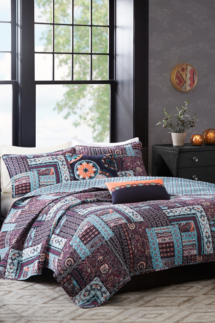 Buy Josie Woodblock Patchwork Reversible Quilt 5 Pc Set from