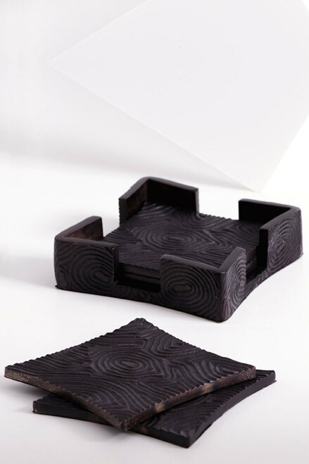 Wood Grain Coaster Set at The Natori Company