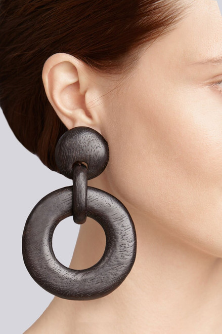 Josie Natori Wood Link Earrings at The Natori Company