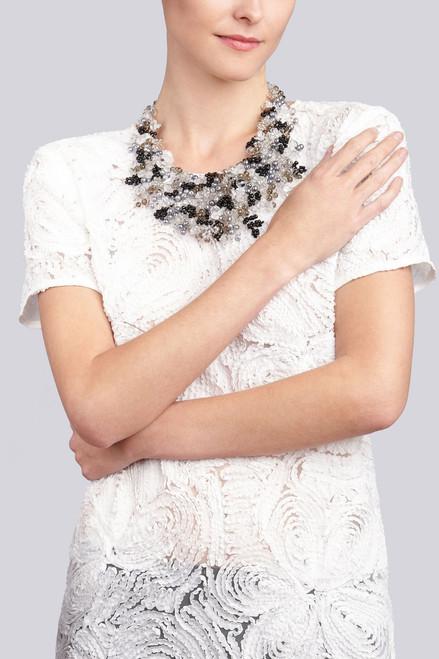 Josie Natori Beaded Bib Necklace - Black at The Natori Company
